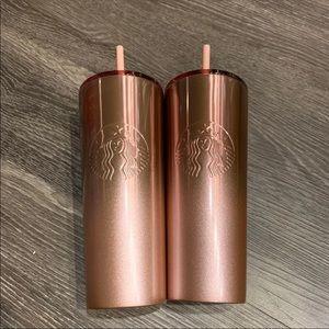Starbucks pink textured stainless steel tumbler